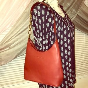 Handbags - Burgundy Shoulder Purse with Gold Tone Accents